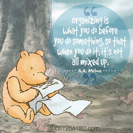 aa milne quote pooh on organizing